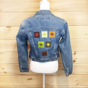 Gap    90's Jean jacket, embroidered, acid wash